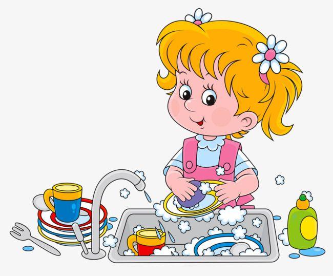 بنت تغسل الصحون, كرتون, طفل, فتاة PNG وملف PSD للتحميل مجانا.