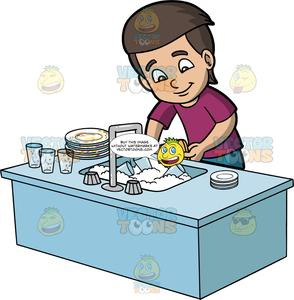 A Boy Washing Dirty Dishes.