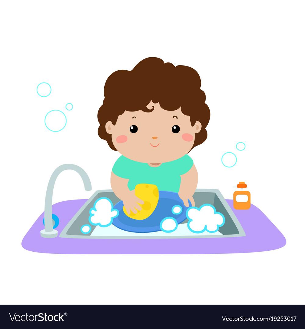 Happy boy washing dish on white background.