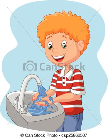 Child washing hands clipart.