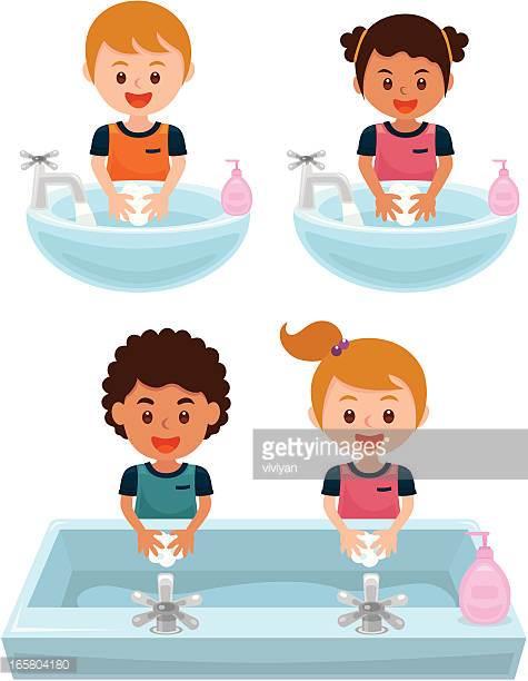 Washing Hands Get Away Bacteria Vector Art.