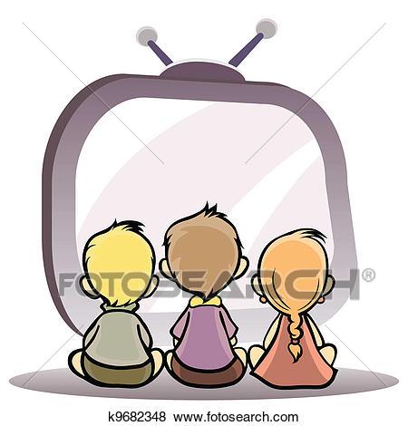 Children watching tv Clip Art.