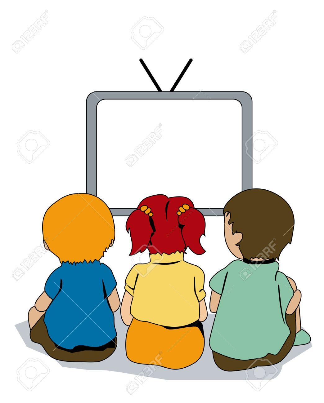 Illustration of Kids watching TV.