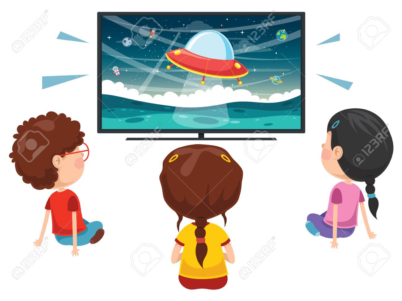 Vector Illustration Of Kids Watching Tv.