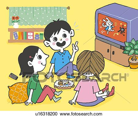 Children watching TV, Painting, Illustration, Illustrative Technique, Rear  View, Side View Clipart.
