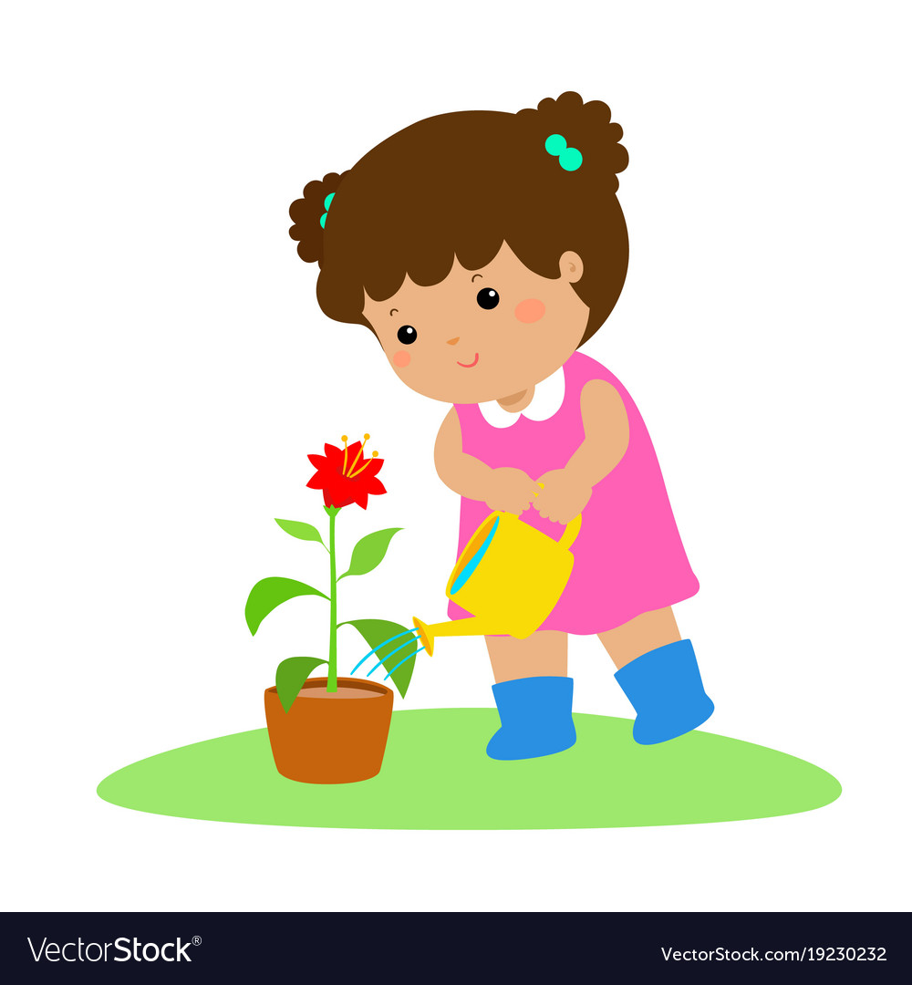 Cute cartoon girl watering plant.