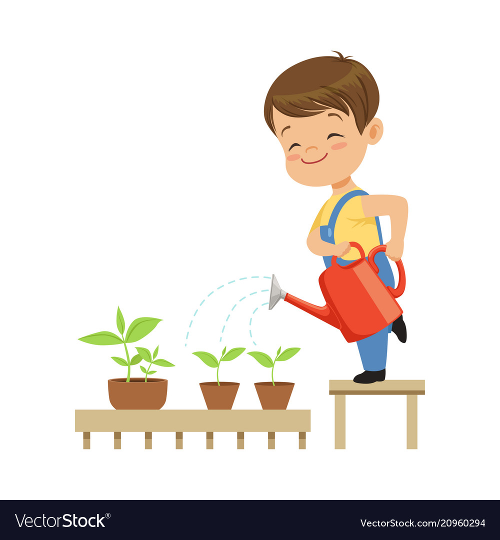 Cute little boy character watering plants from a.