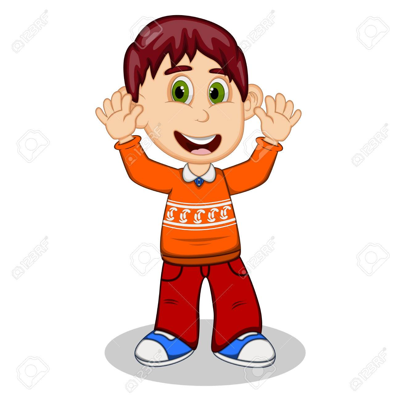Children waving his hands wearing orange long sleeve sweater...