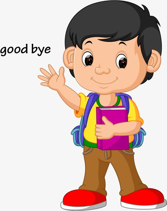 Vector Kids Wave Goodbye, Kids Clipart, Wave Clipart.