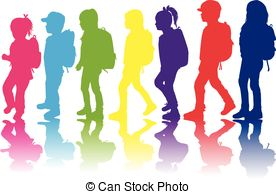 Kid girl student wearing a backpack Clipart Vector Graphics. 11.