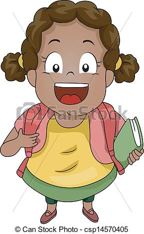 Vector Clipart of Top View of Kid Girl Student Wearing a Backpack.