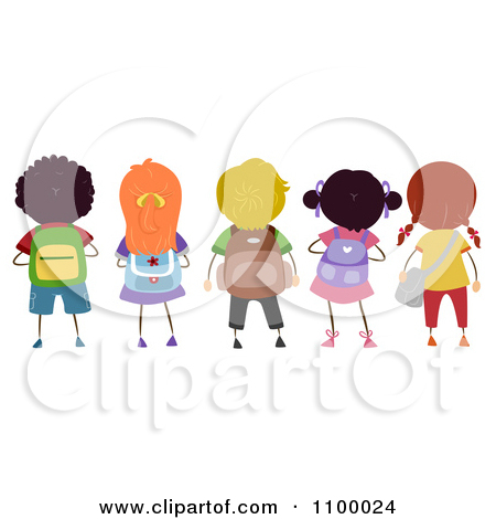 Child Wearing Bookbag Clipart.