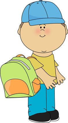 Kids Wearing Backpacks Clipart.