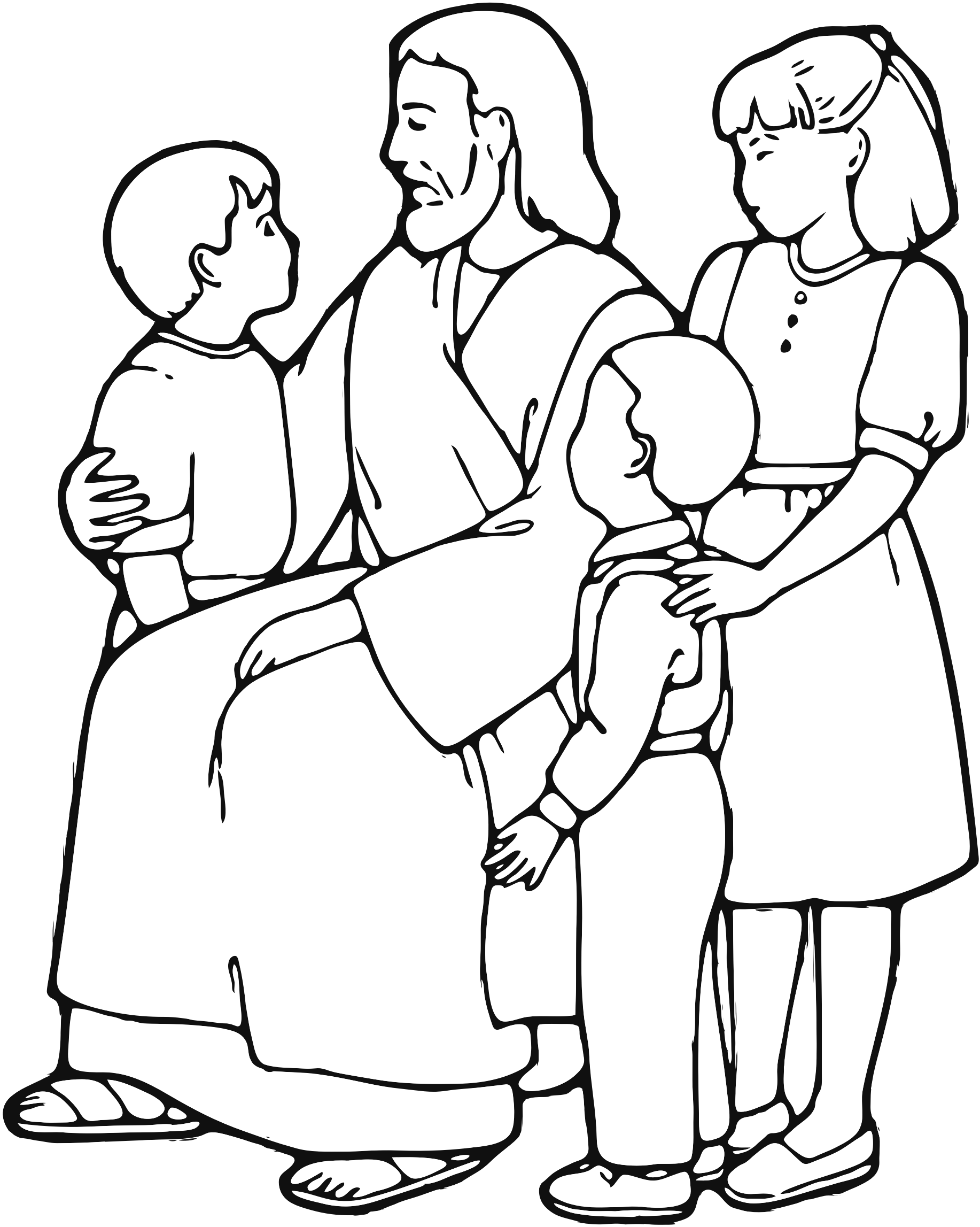 Jesus With Children Black And White Clipart.