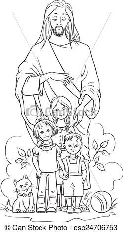 Clipart Of Black Jesus And Children.