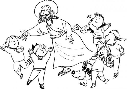 free clip art jesus with children.