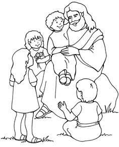 Lds Black And White Clipart Of Jesus And Children.