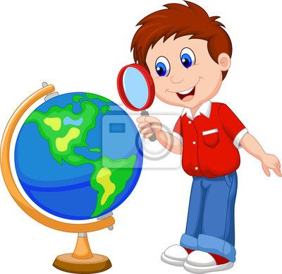 Cartoon Boy Using Magnifying Glass Looking At Globe Craft.