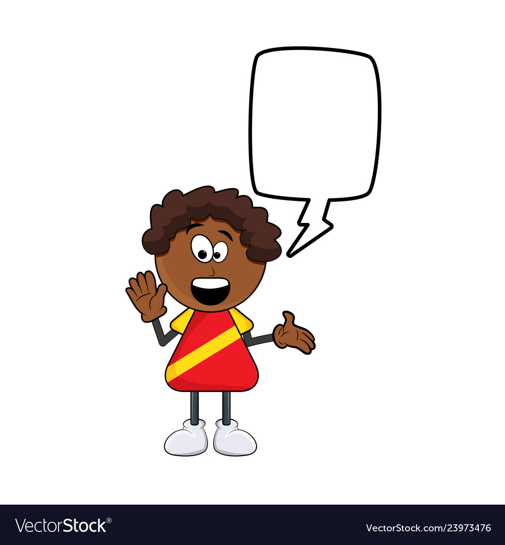 Black african boy cartoon with speech bubble vector image.