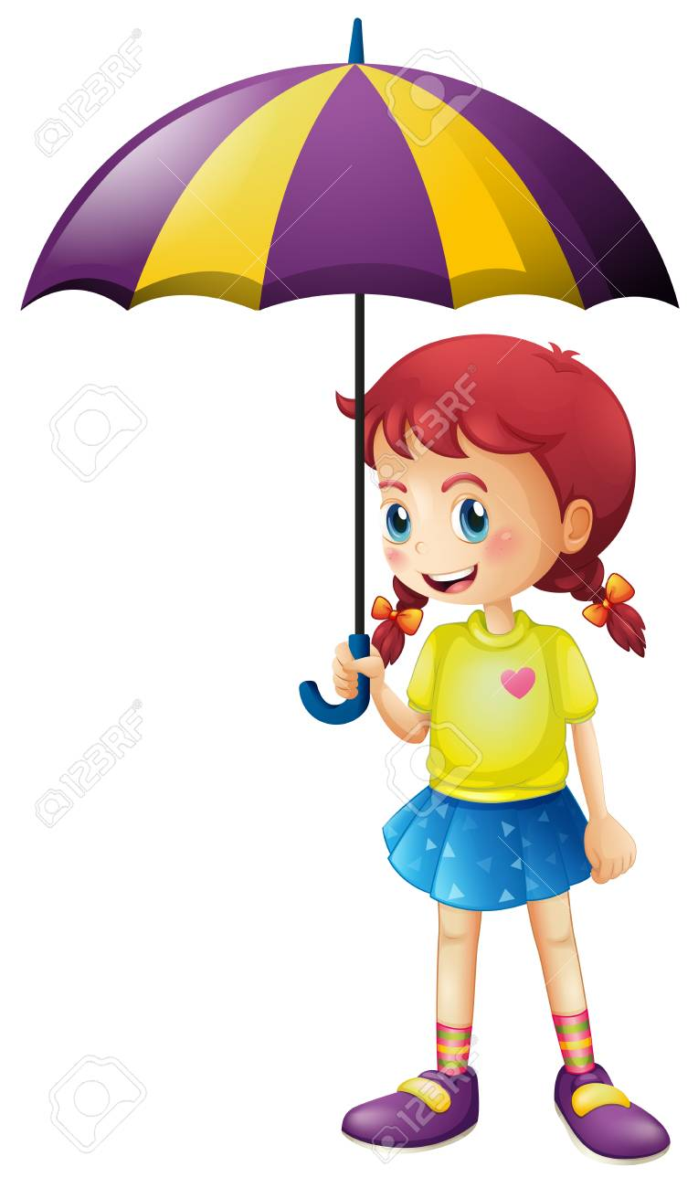 Girl Holding Umbrella Clipart.