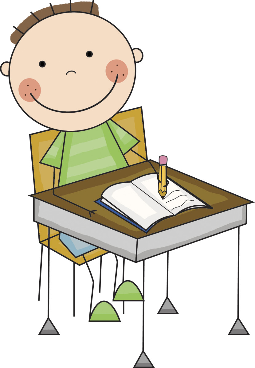 Child Working At Desk Clipart.