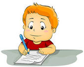 Stock Photo of Child student kid girl writing with homework on.