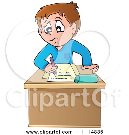 Clipart Blond School Girl Raising Her Hand At Her Desk Over A Book.