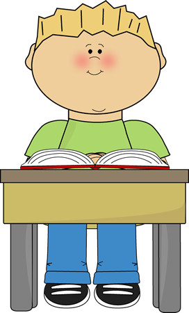 Child Writing At Desk Clipart.