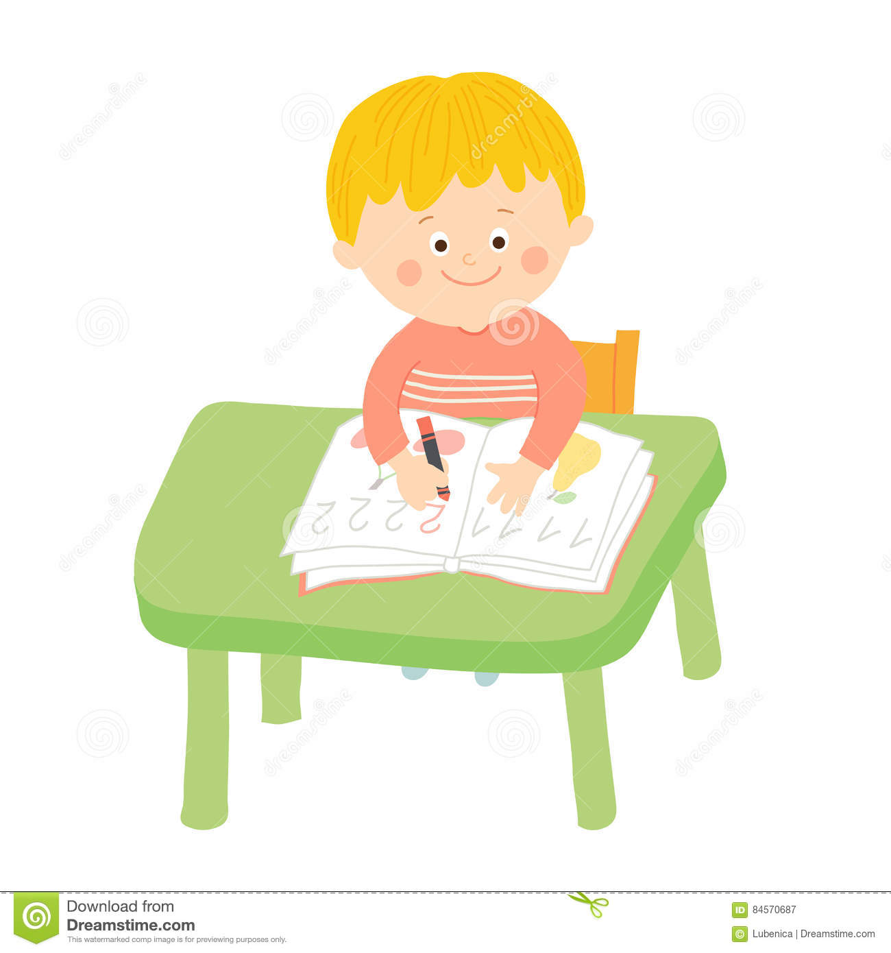 Cute School Boy Writing At Desk In Classroom Editorial Photography.