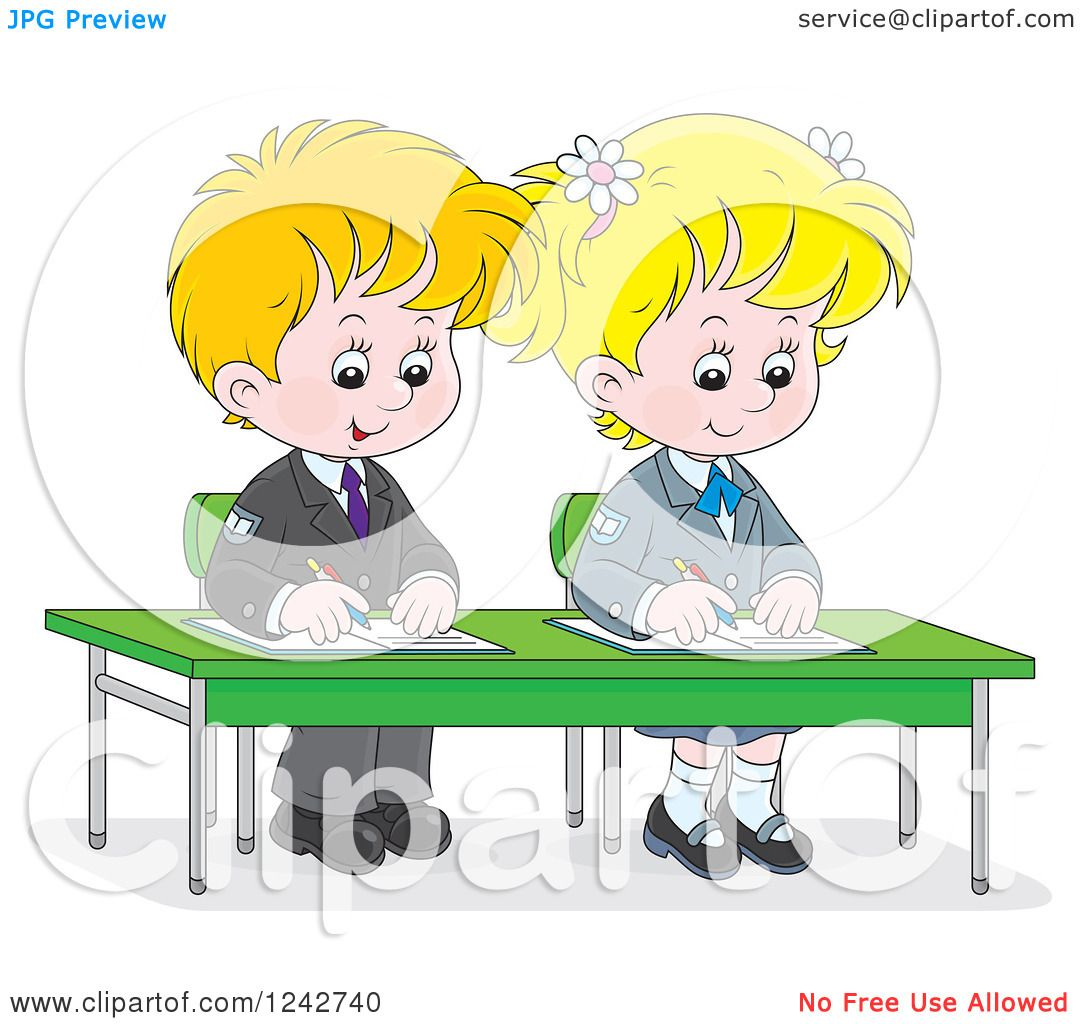 Clipart of Blond School Children Writing at Their Desk.