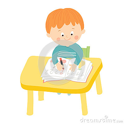 Cute Boy Cartoon Writing On A Book Stock Vector.