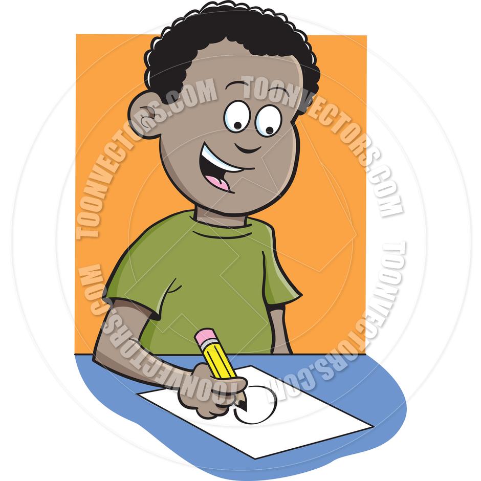 Cartoon Boy Writing by kenbenner.