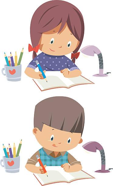 Best Child Writing Illustrations, Royalty.