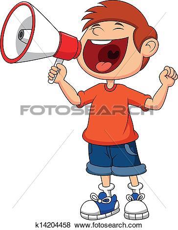 Clipart of Child cartoon screaming into a mega k20853704.