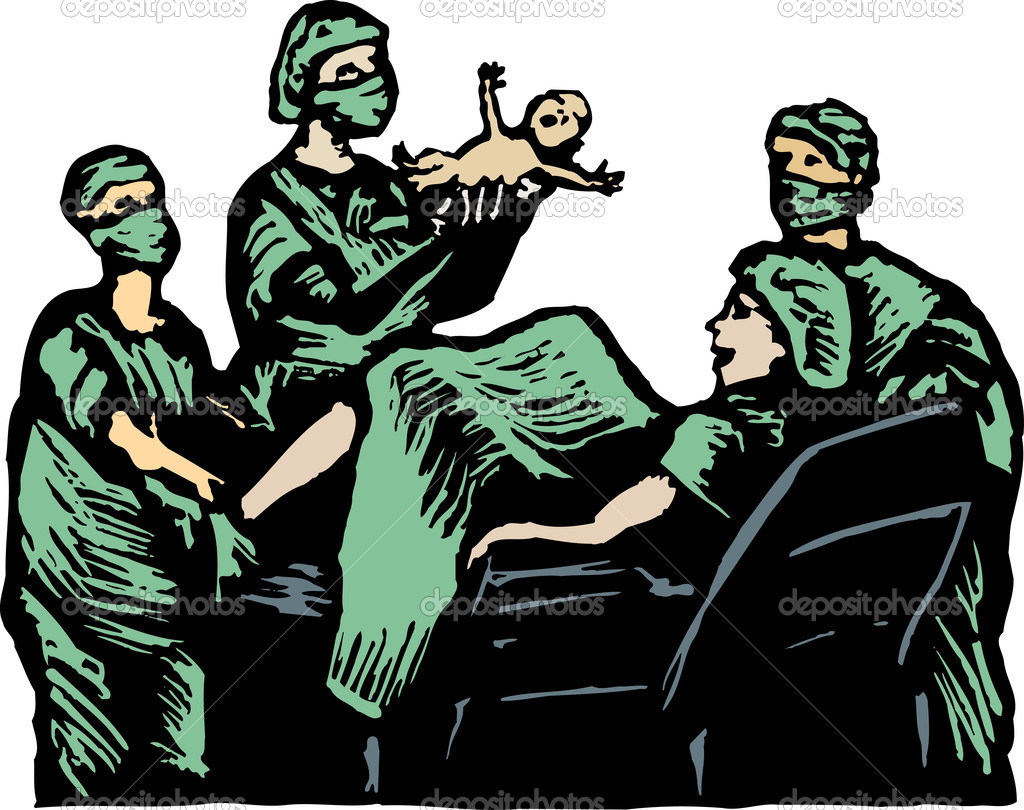 Woodcut Illustration of Newborn Baby in Delivery Room — Stock.
