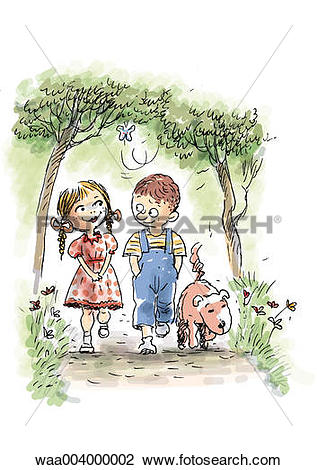 Clip Art of drawing, children, childhood, friend, friends.