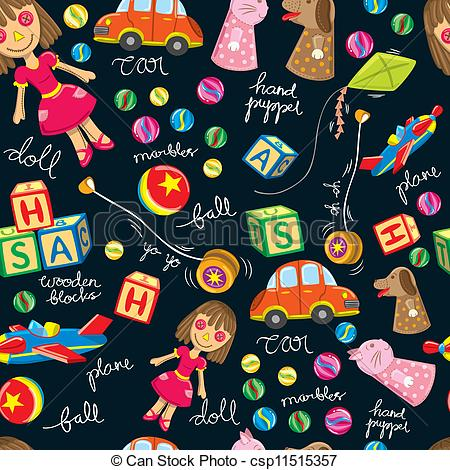 Clipart Vector of cute toys vintage background csp11515357.