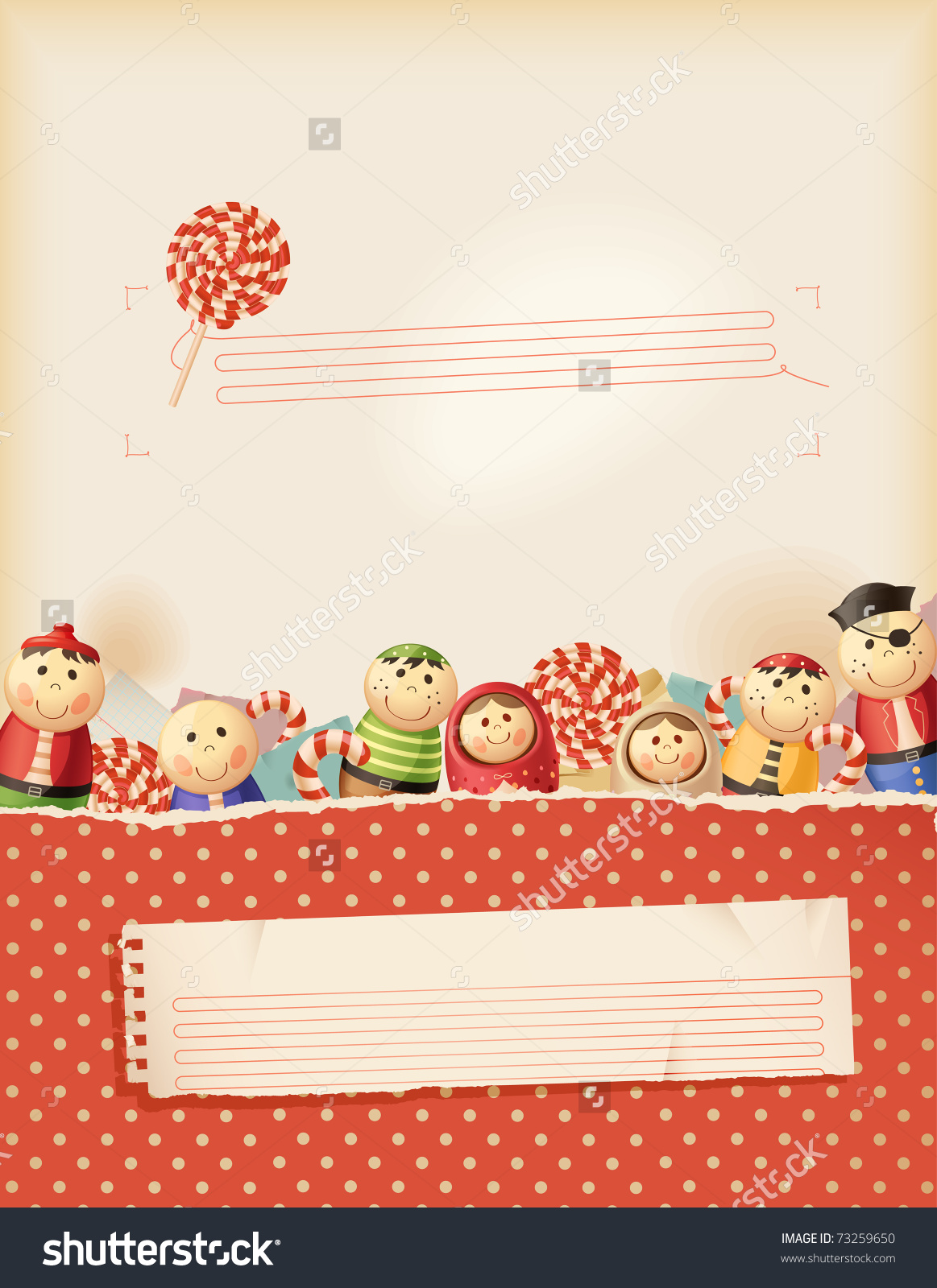 Sweet Red Childhood Memories Background Space Stock Vector.