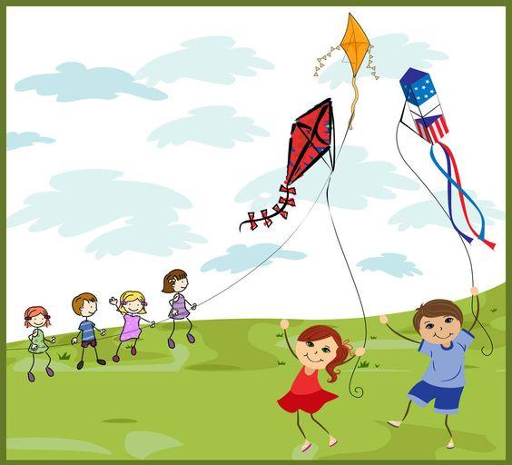 Kids Flying Kites.