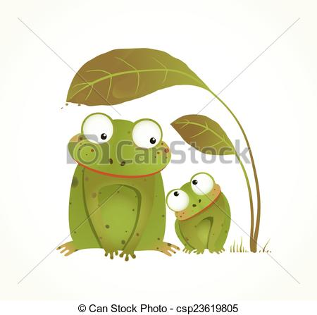 Vector Clipart of Two Frogs Mother and Baby Childish Animal.