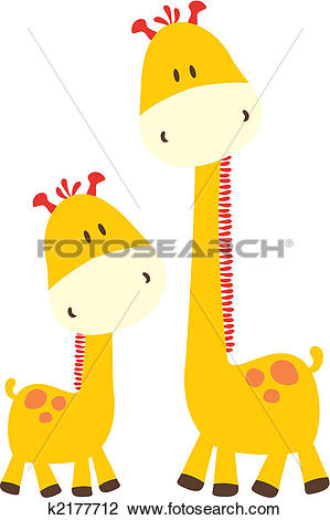 Clipart of childish giraffe and mommy k2177712.