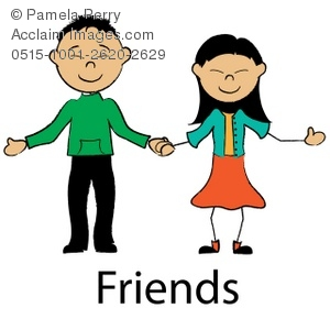 Clip Art Illustration of an Asian Stick Boy and Girl Holding Hands.