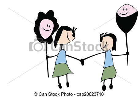 Vector Clip Art of childish drawn cartoon, sisters friendship.