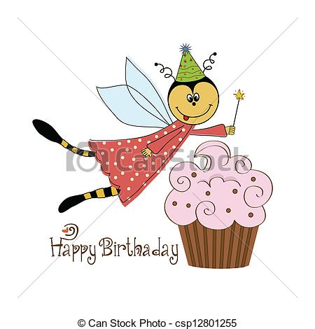 Clipart Vector of Childish birthday card with funny dressed bee.
