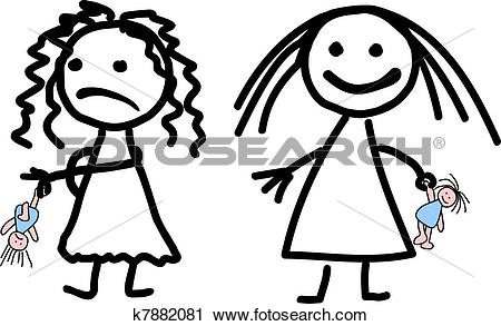 Clipart of Childish drawing of two girls k7882081.