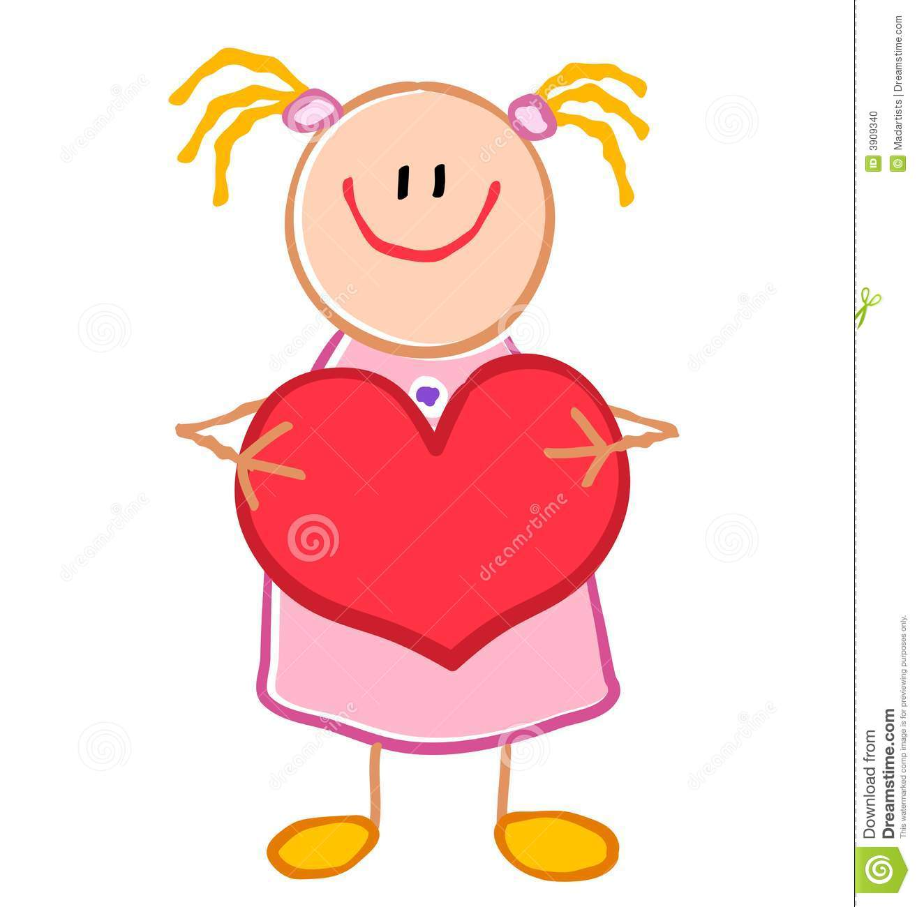 Childlike Girl Holding Heart Stock Photo.