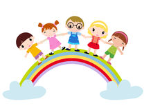 Childlike Drawing Rainbow Kids Royalty Free Stock Image.