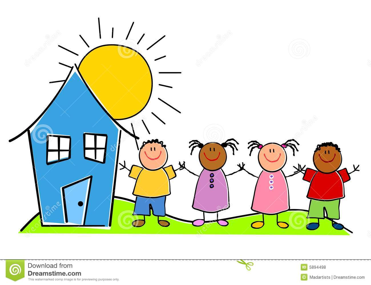 Childlike Kids With A House Royalty Free Stock Photos.