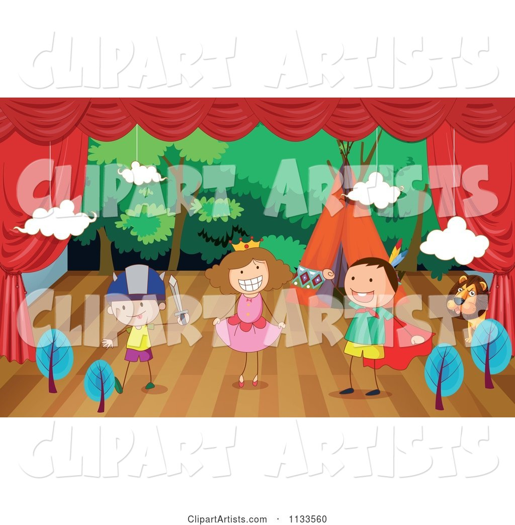 Lion And Children Acting Out A Play Clipart by Graphics RF.