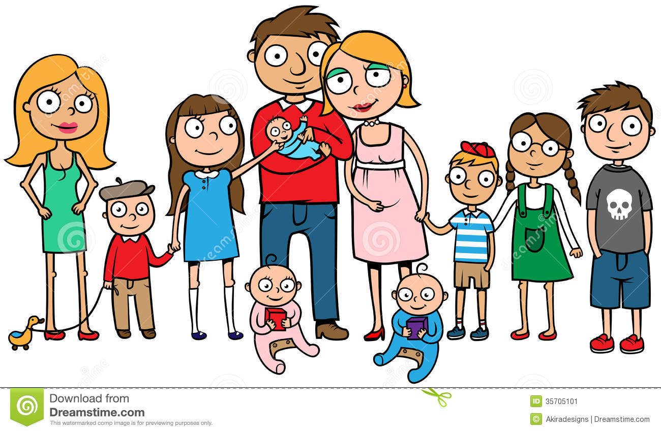 Large Family With Many Children Stock Vector.